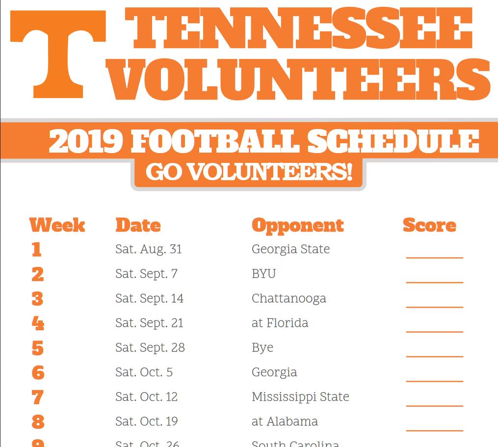 2019 Schedule Printable